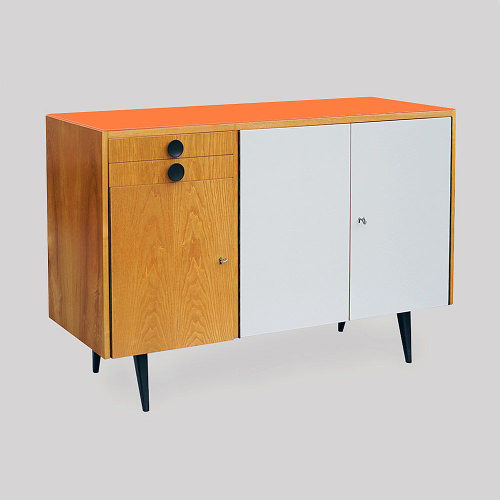 cabinet with orange glass top
